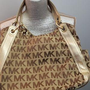 💥Michael Kors Logo Shoulder Bag/Gold Leather Trim